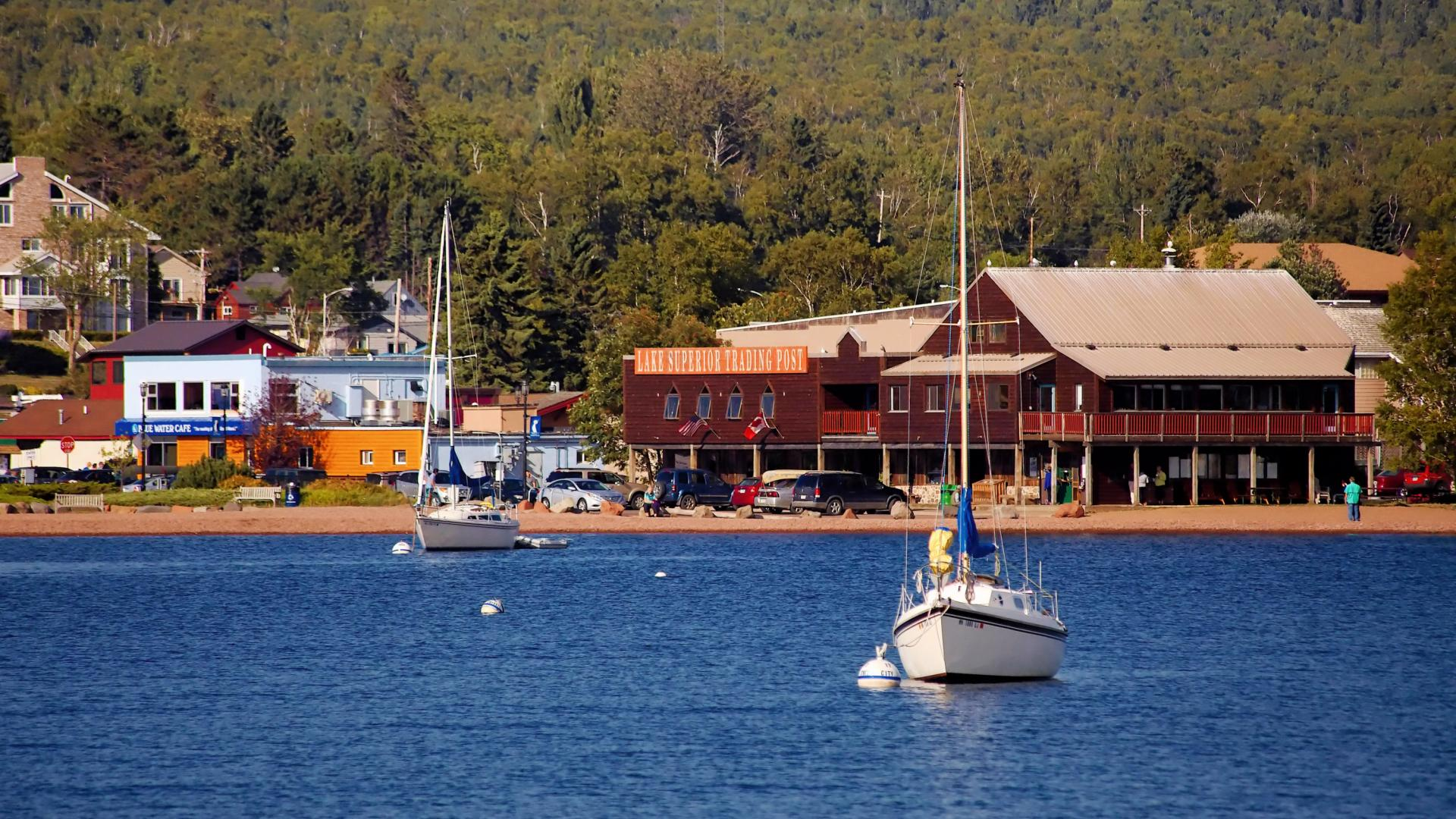 The Grand Marais harbor as seen from Lake Superior
