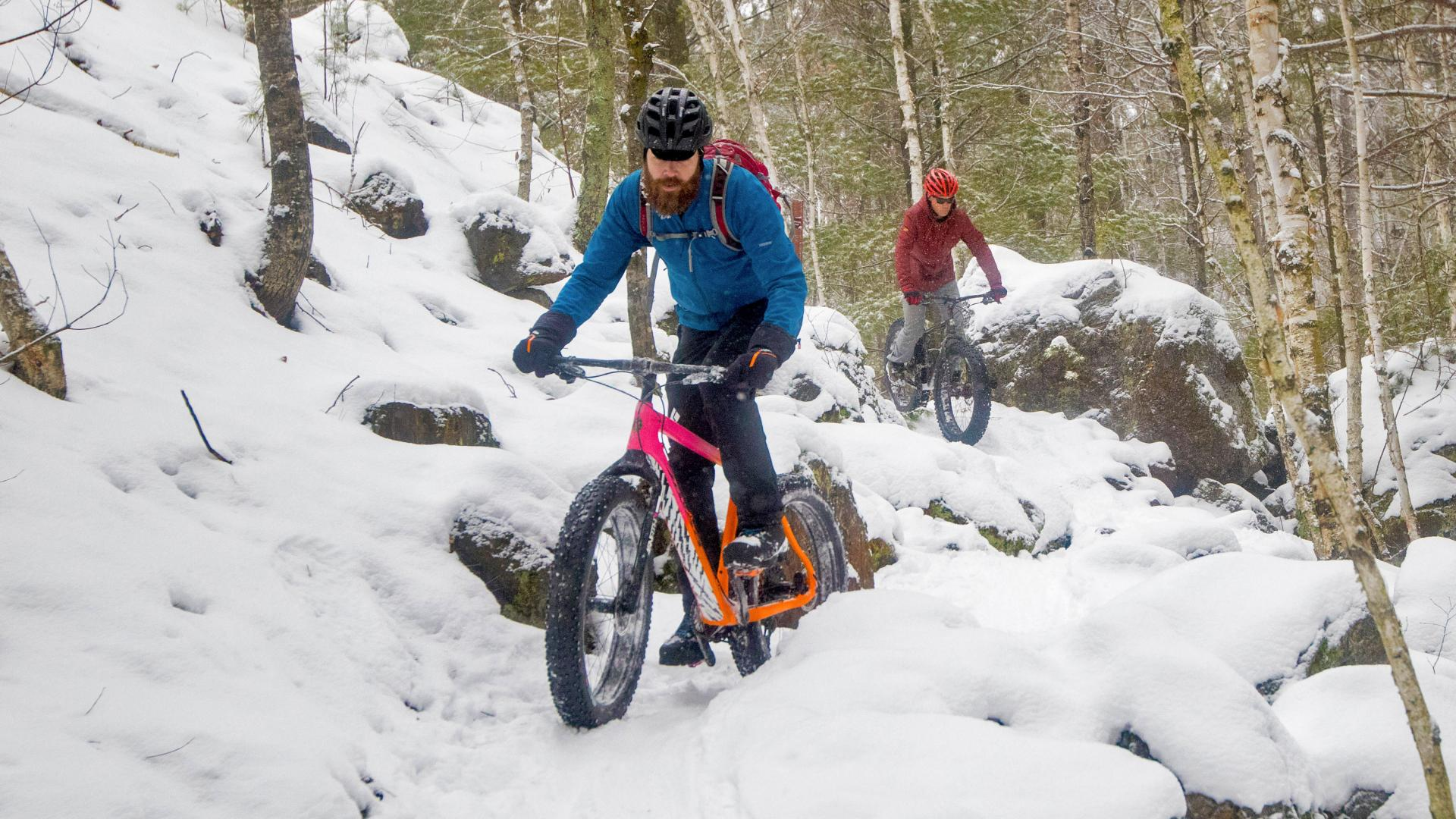 Two riders winter fat biking at Cuyuna