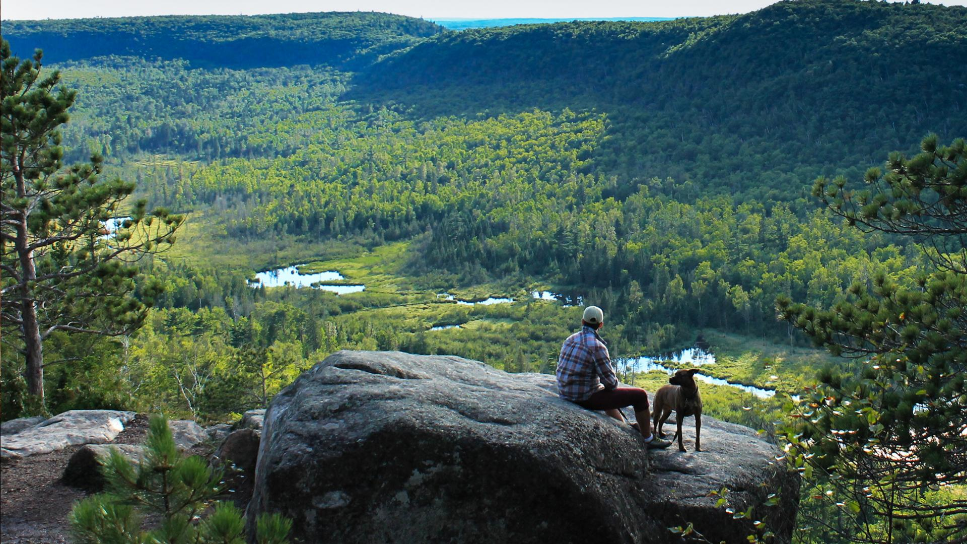 Scenic overlook of the valley from Interstate State Park hiking trail, which is also pet-friendly