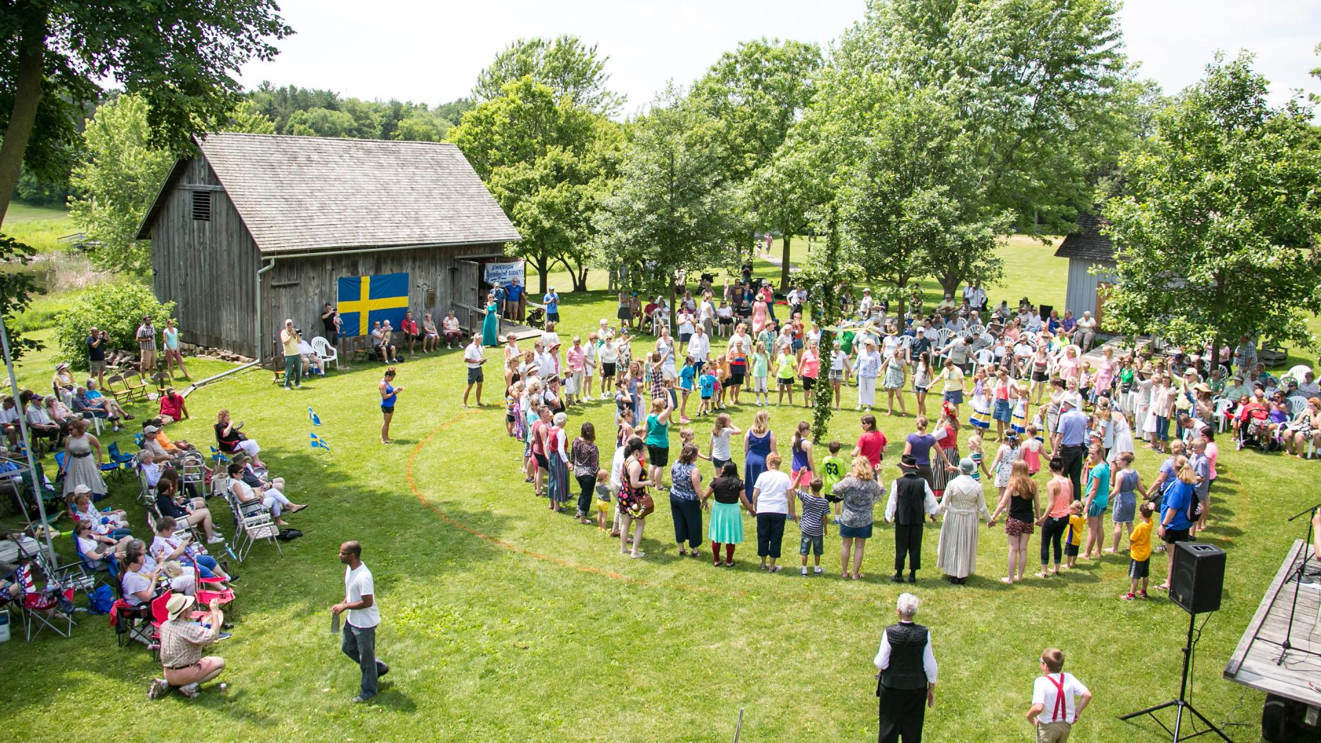 Dancing around the Maypole at Midsommar celebration