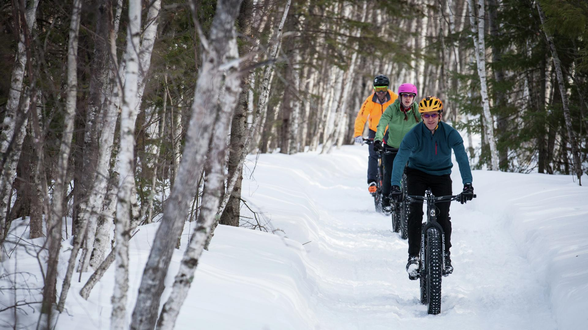 Three fat bikers on a snowy trail in Grand Rapids