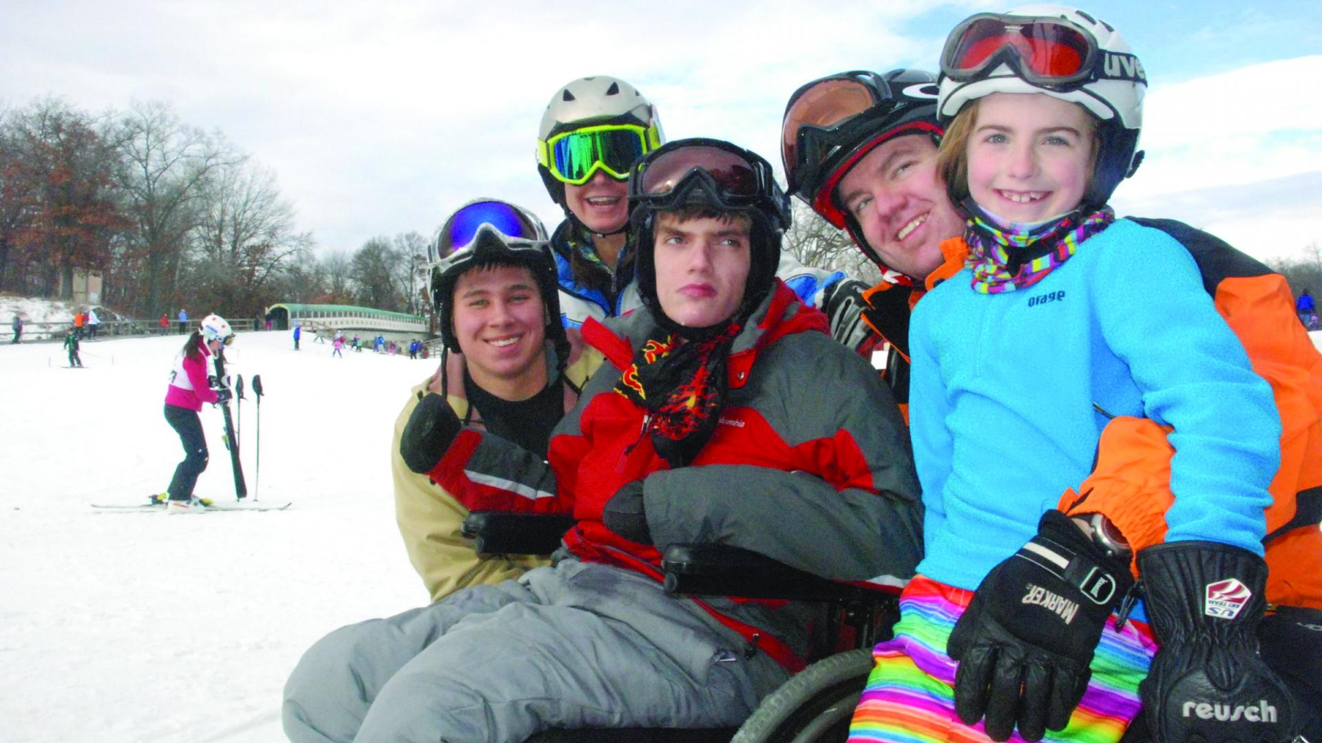 Family of skiers at Buck Hill ski area
