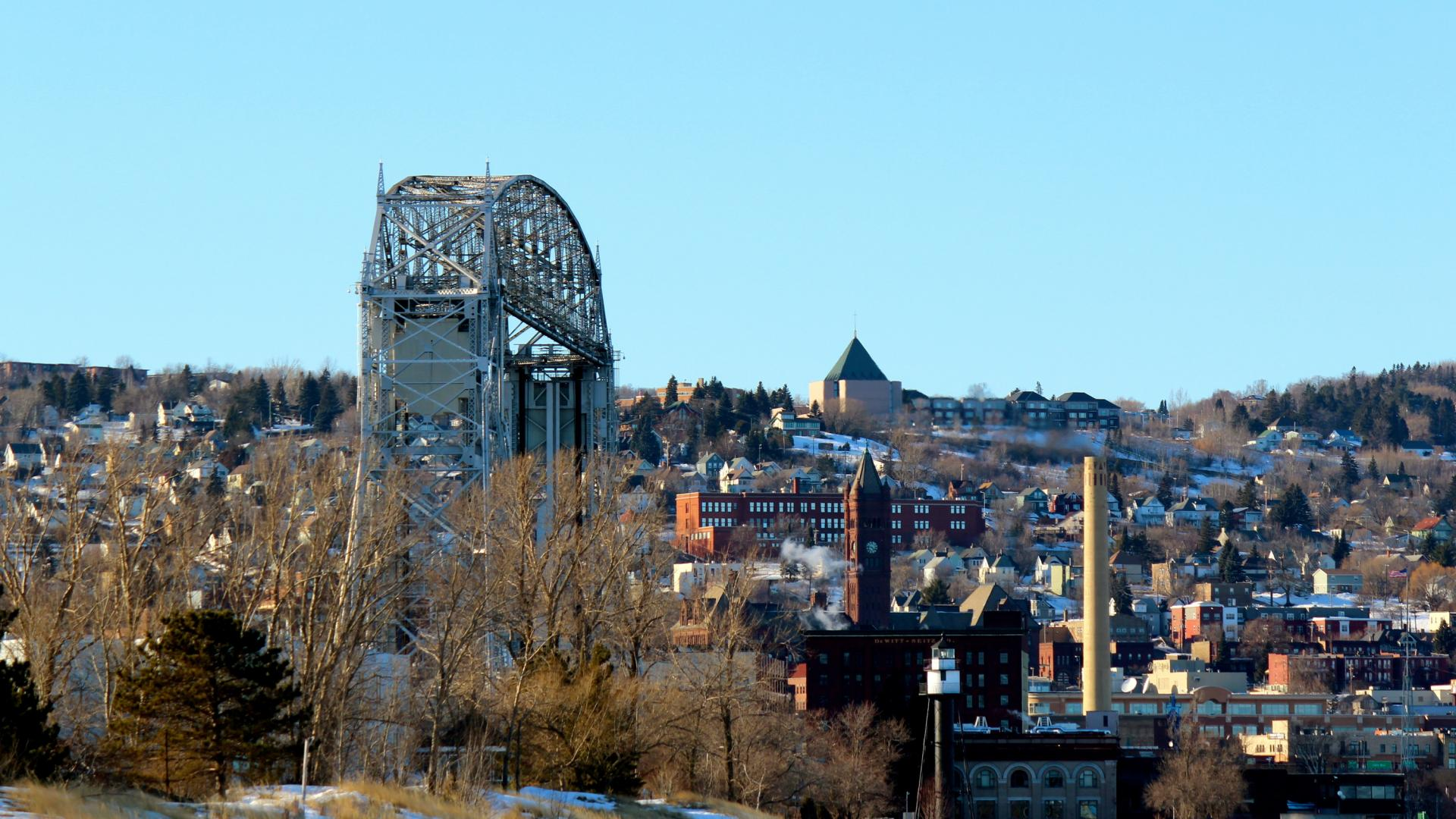 Aerial Lift Bridge and downtown Duluth in winter