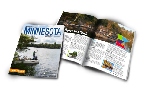 Image depicting the cover and a spread of the Minnesota Fishing Guide