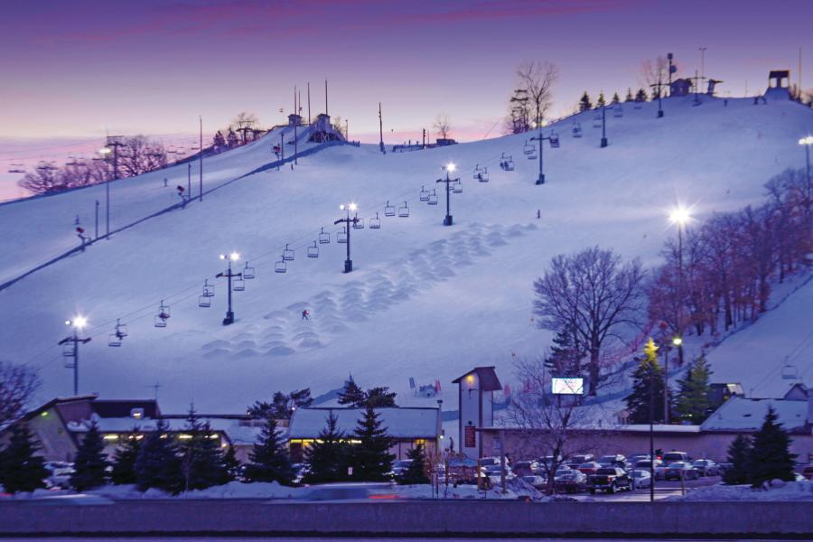 Buck Hill Ski Area at night, Burnsville