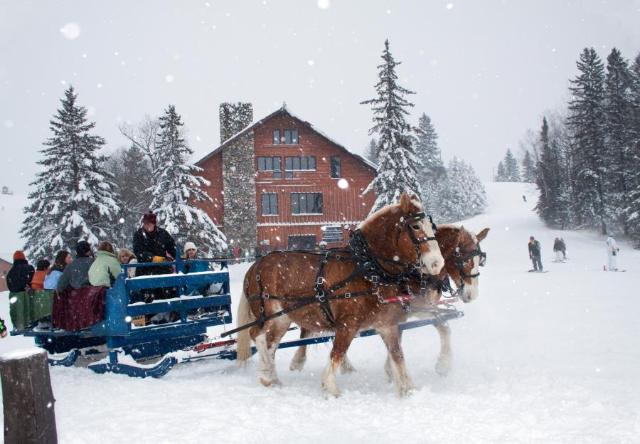 Carriage ride and chalet at Buena Vista, Bemidji