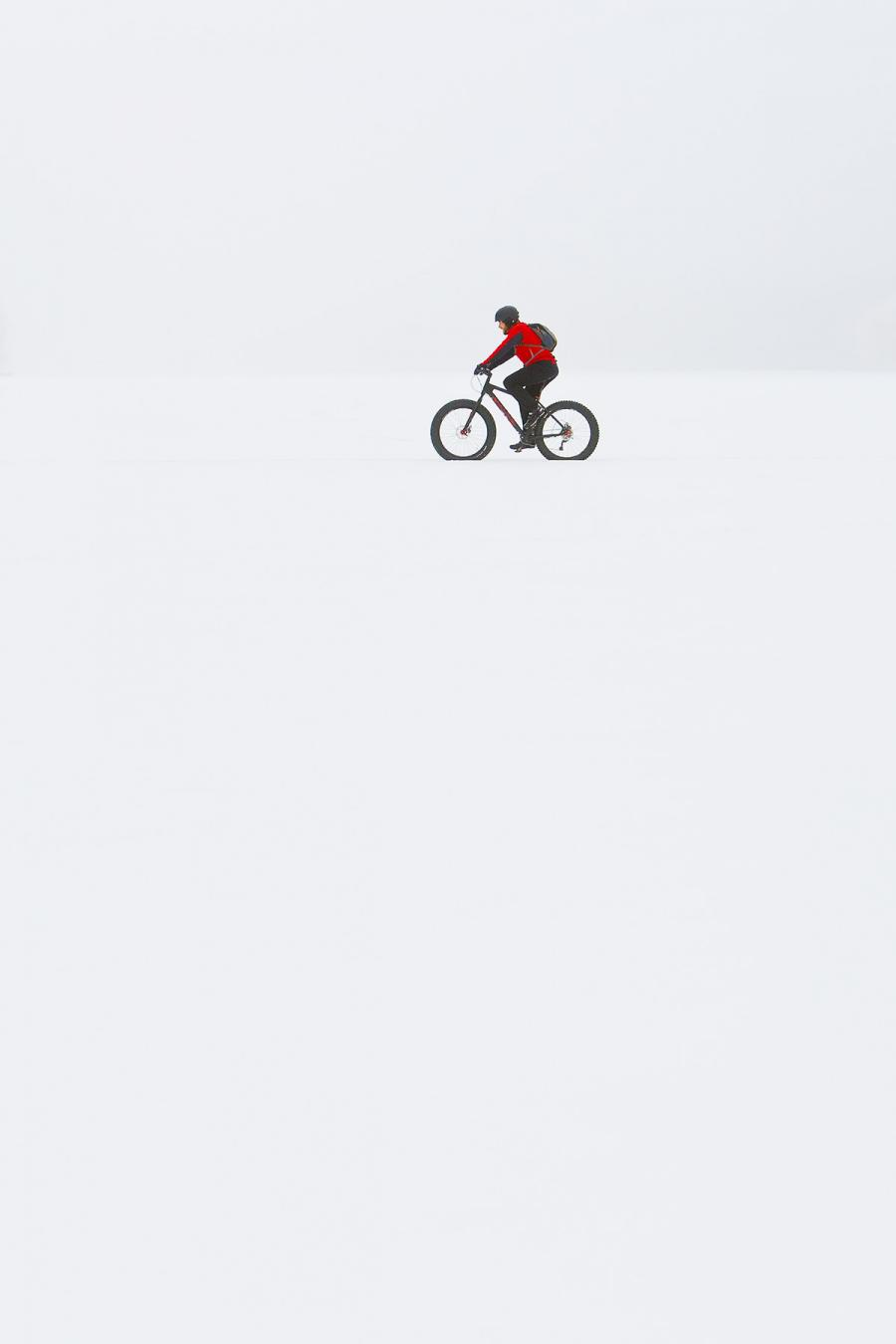 A biker in the snow near Cuyuna, Minnesota