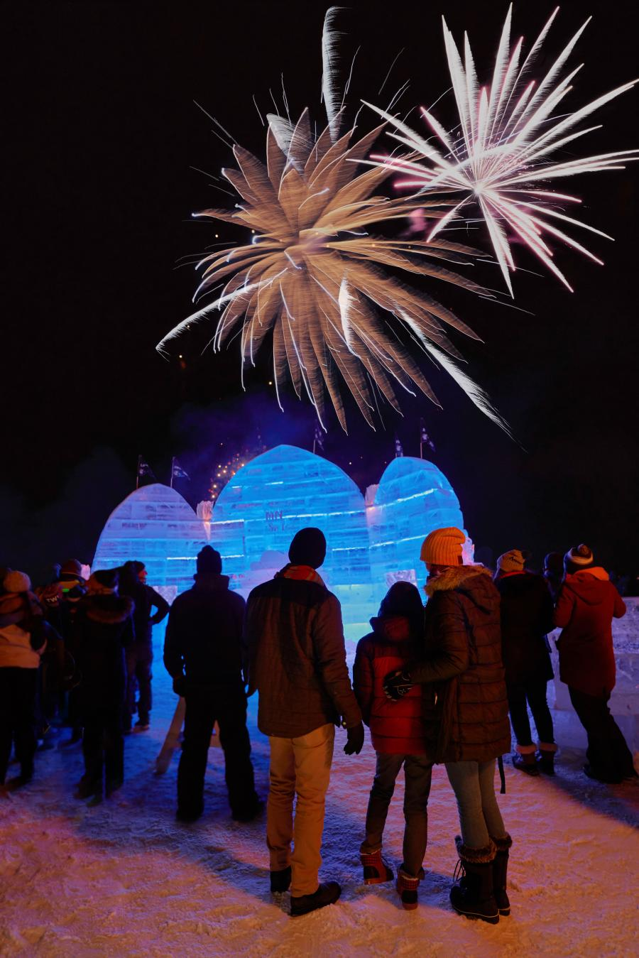 Fireworks and ice palace on Detroit Lake