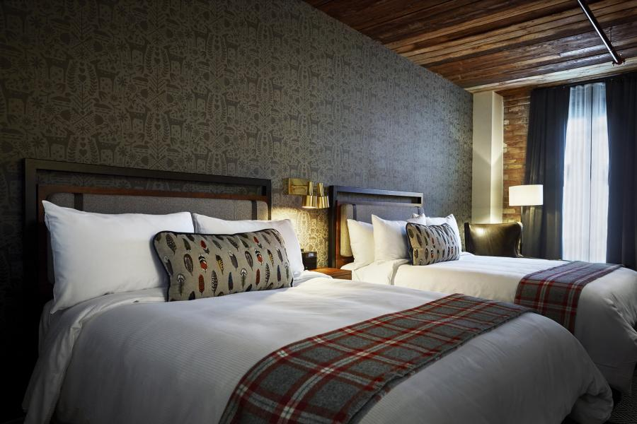 A room at the Hewing Hotel Dubuque Double in Minneapolis's North Loop