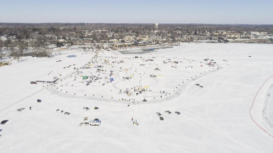 A village of ice fishing houses on Lake Minnetonka