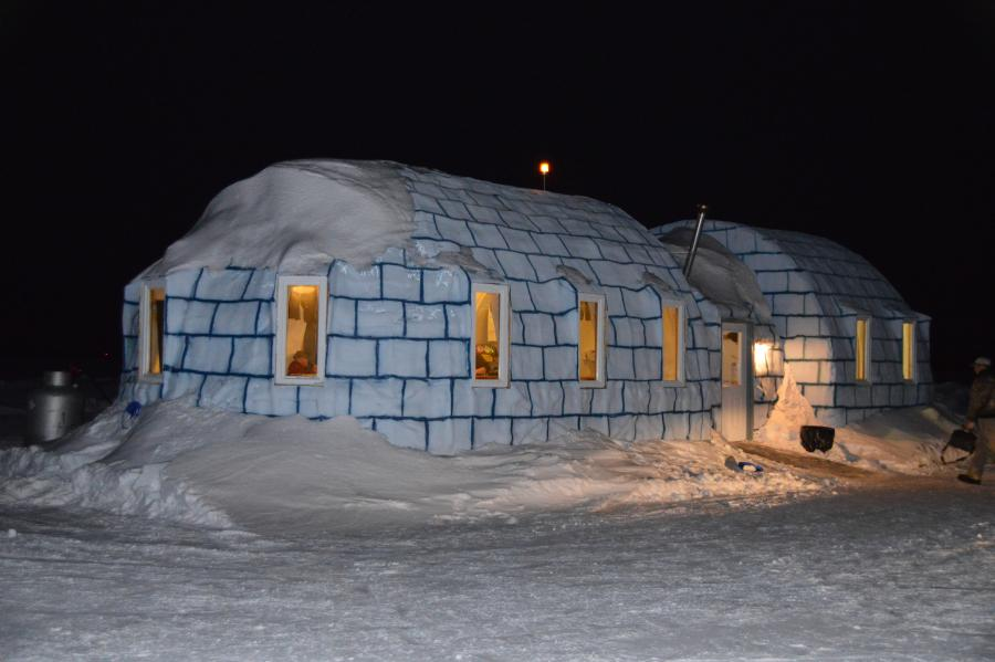 A bar shaped like an igloo on frozen Lake of the Woods
