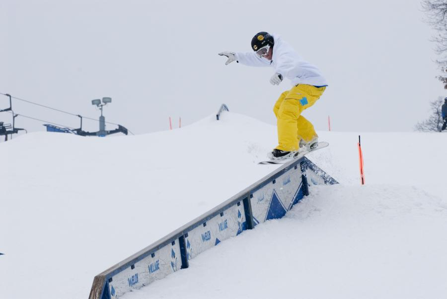 Snowboarding at Welch Village ski area terrain park