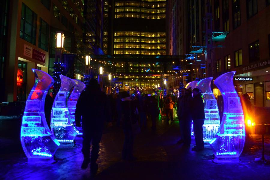Ice sculptures in downtown Rochester at Social Ice