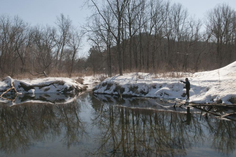 Winter fly fishing near Whitewater State Park
