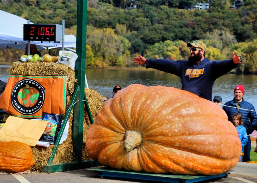 Guess the weight of the biggest pumpkin at the Stillwater Harvest Festival