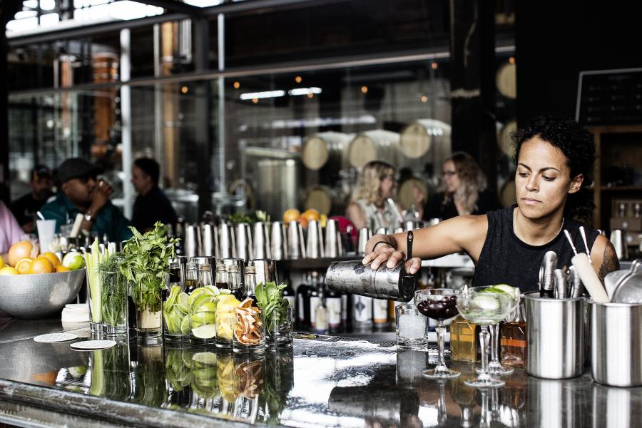 Bartender at Tattersall Distilling in Minneapolis / Photo by The Restaurant Project