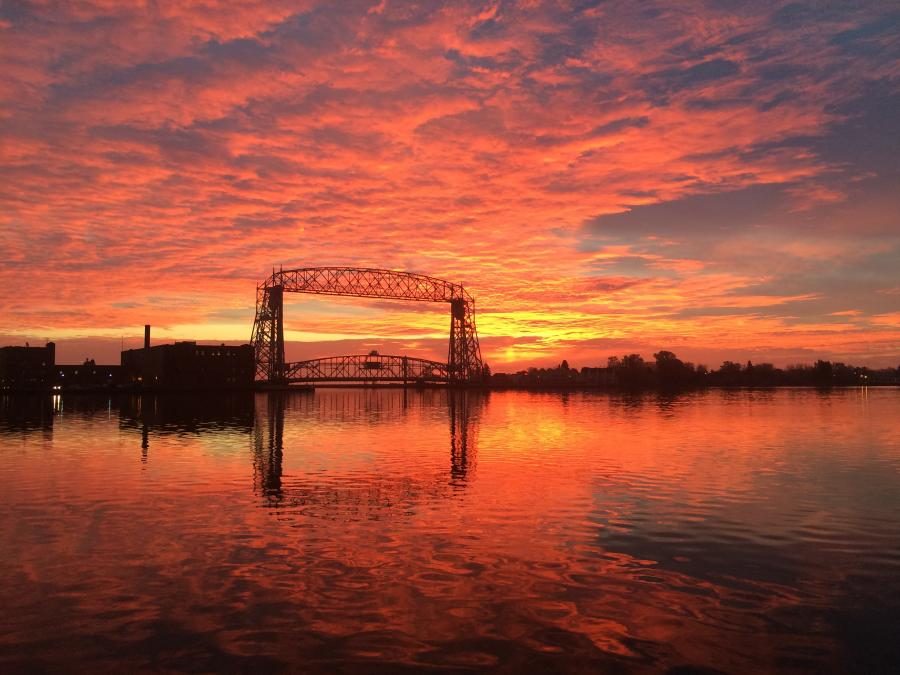 Aerial Lift Bridge Sunset