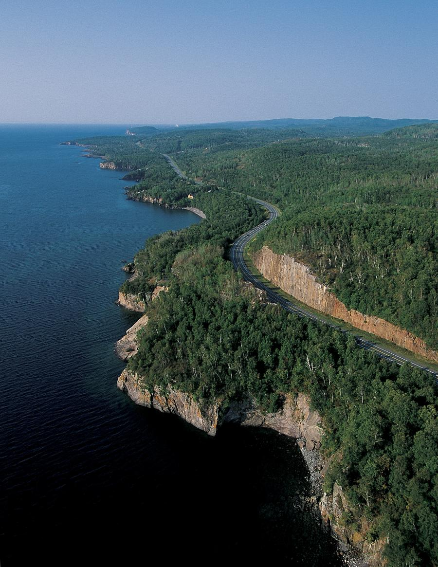 Aerial view of the North Shore Scenic Byway along Lake Superior
