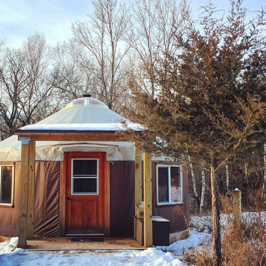 Minnesota State Park yurt exterior in winter