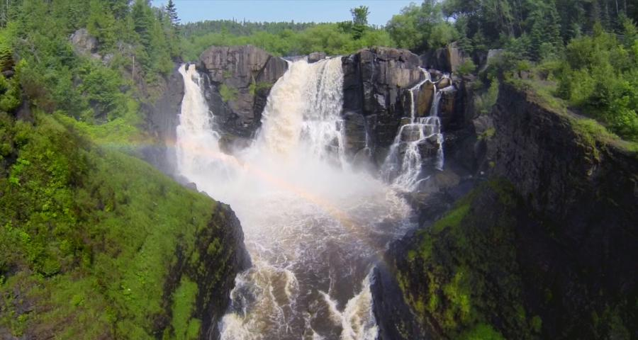 High Falls Grand Portage State Park with rainbow