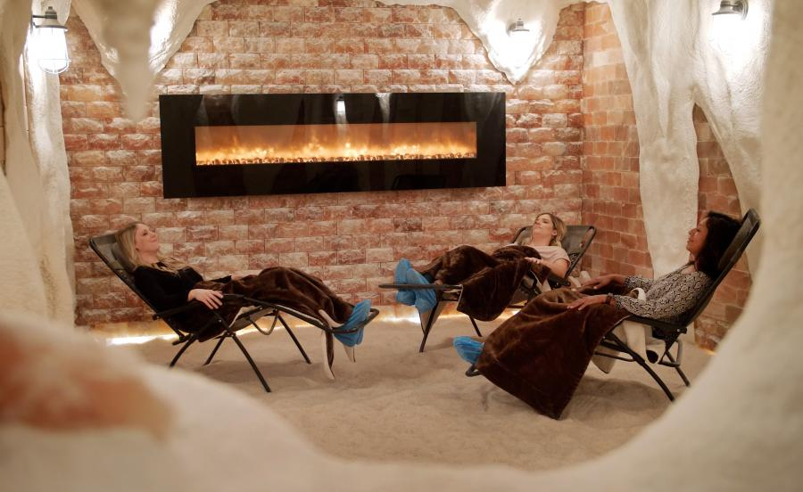 Women in the salt cave at Just for Me Spa
