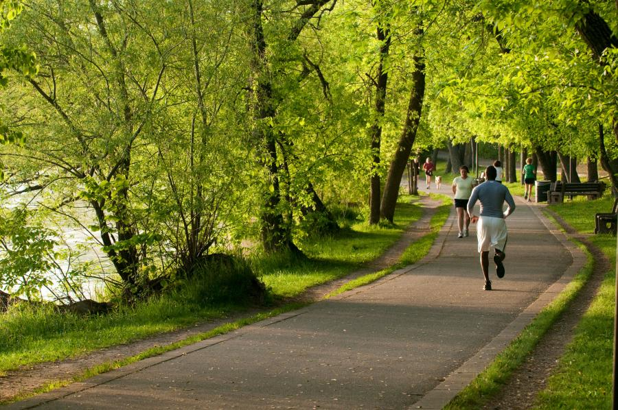 Runners on the Lake Harriet Trail in Minneapolis