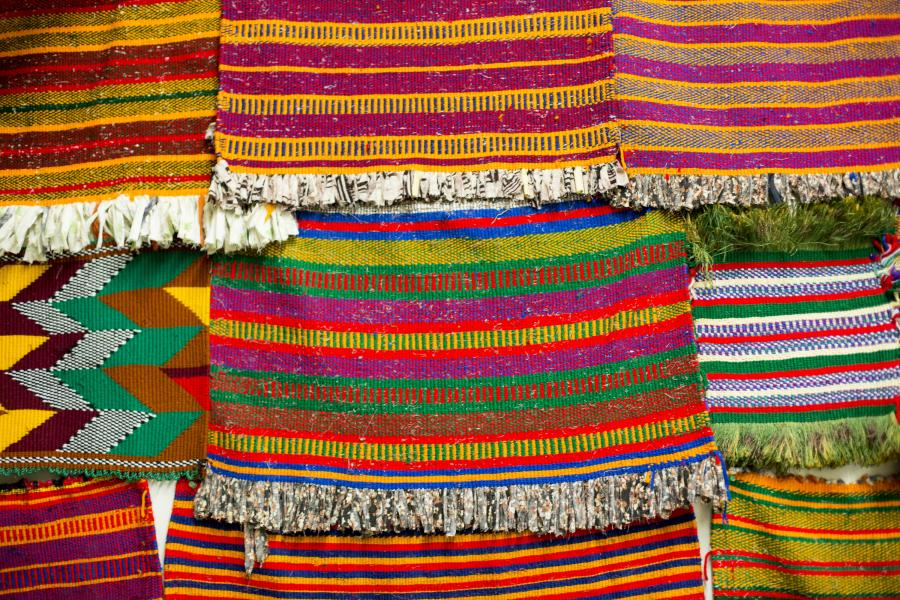 Colorful woven mats at the Somali Museum of Minnesota