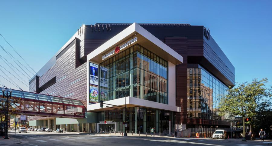 Exterior of Target Center in downtown Minneapolis