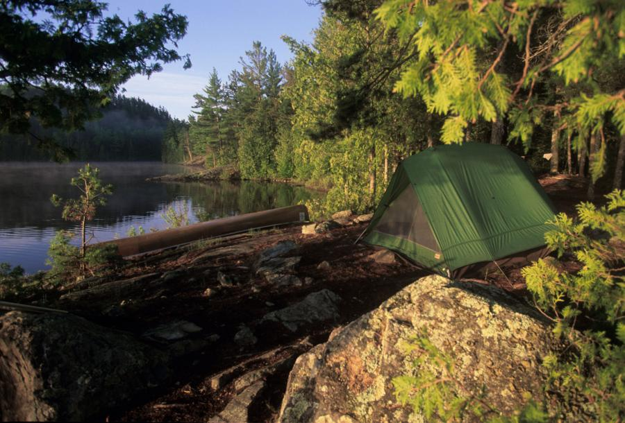 Tent campsite in the Boundary Waters