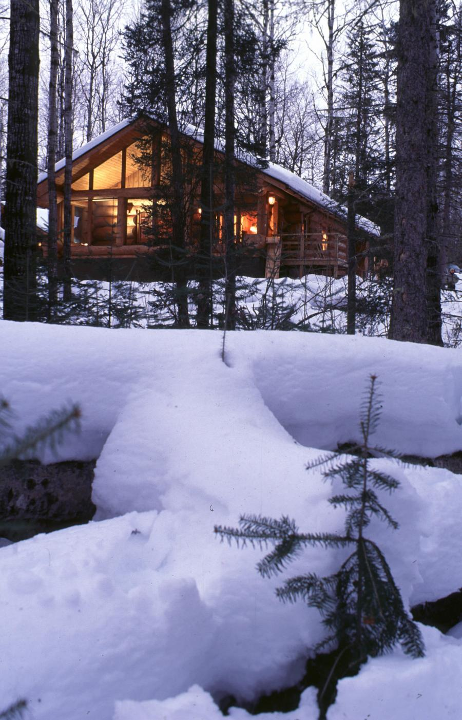 A winter cabin in the woods on the Gunflint Trail