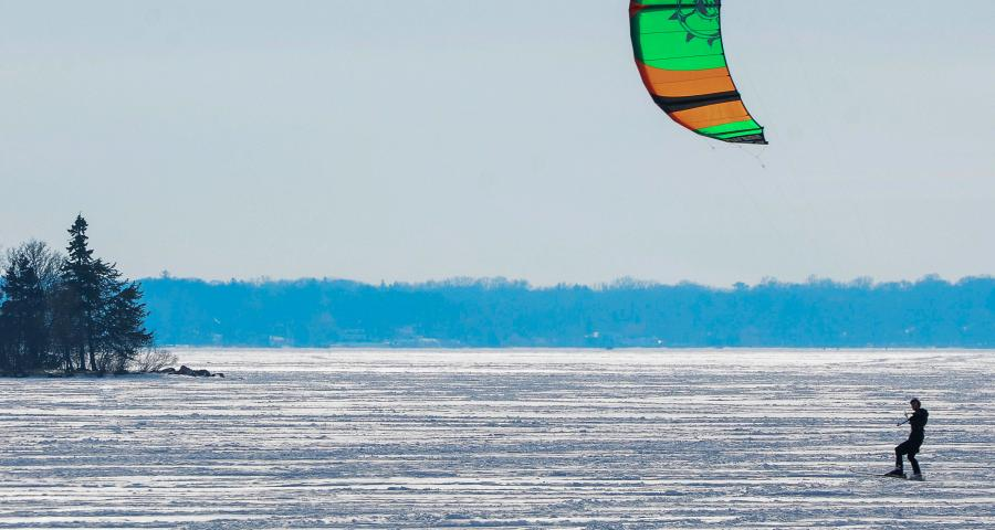 winter kite surfing on lake minnetonka