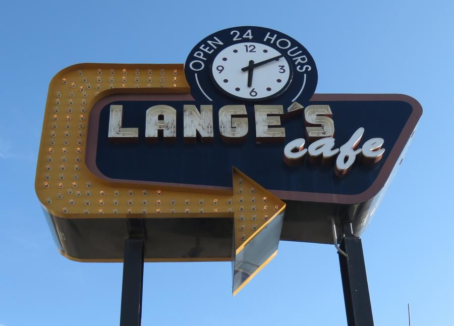 Art deco cafe sign with clock at Lange's Cafe in Pipestone