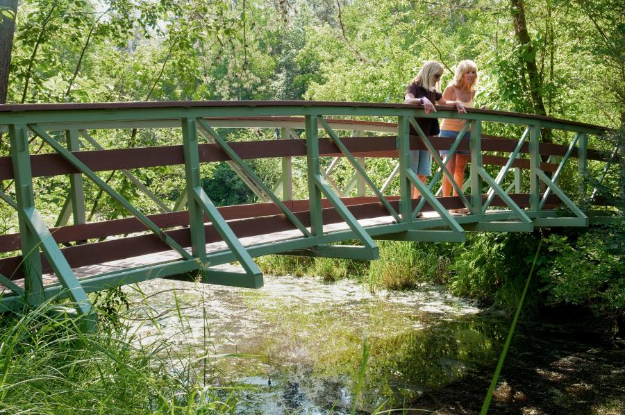 Two women on a bridge in Northland Arboretum
