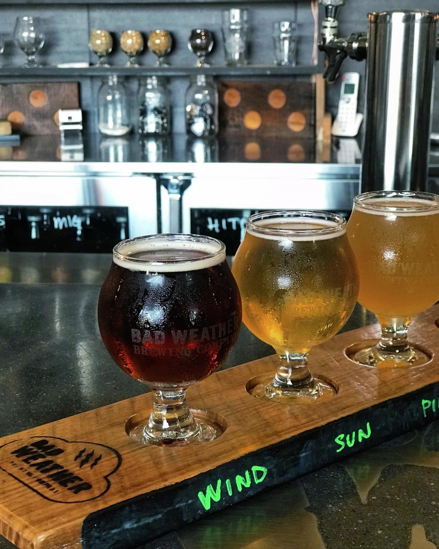 Beer flight at Bad Weather Brewing