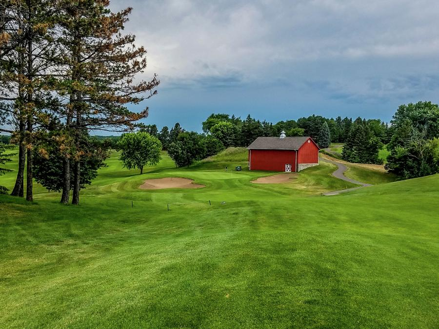 "The ""barn hole"" at Baker National Golf Course"
