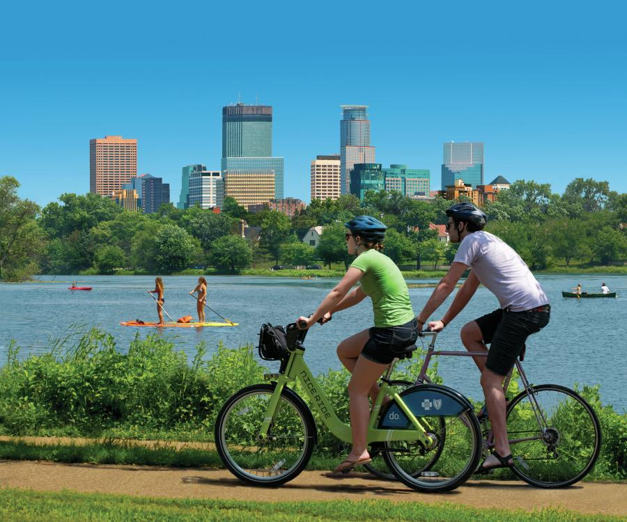 Biking around Bde Maka Ska, Minneapolis skyline in background
