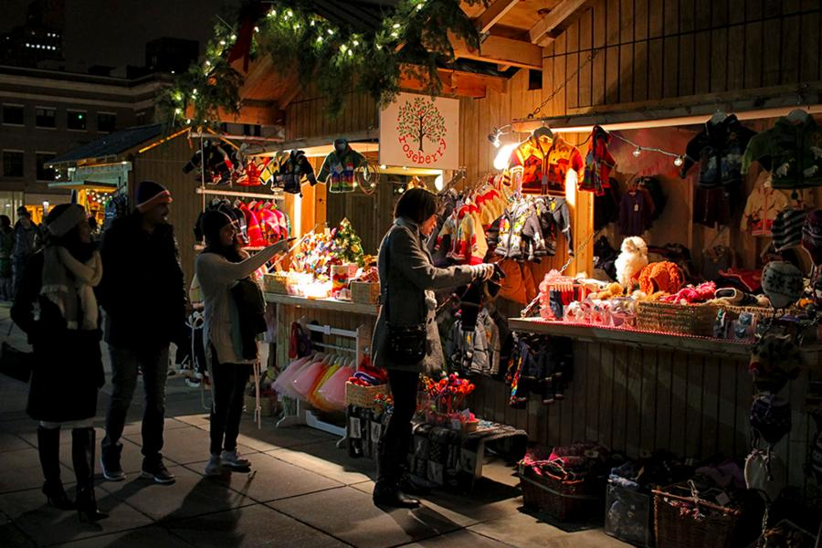 European Christmas Market at night in Saint Paul