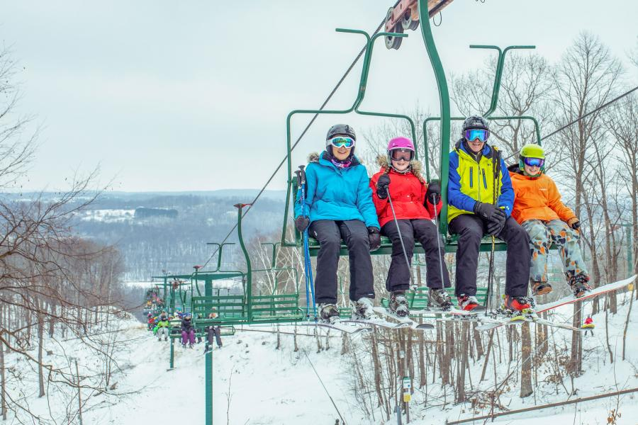 Family on chairlift at Wild Mountain in Taylors Falls