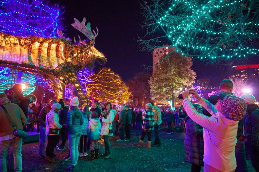 Holidazzle Interactive Illuminated Art moose installation