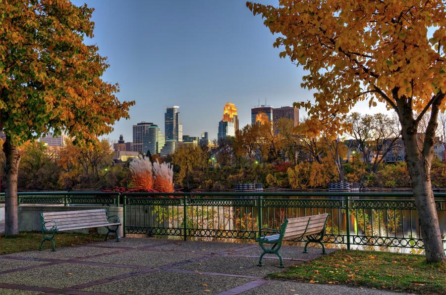 Minneapolis skyline in fall