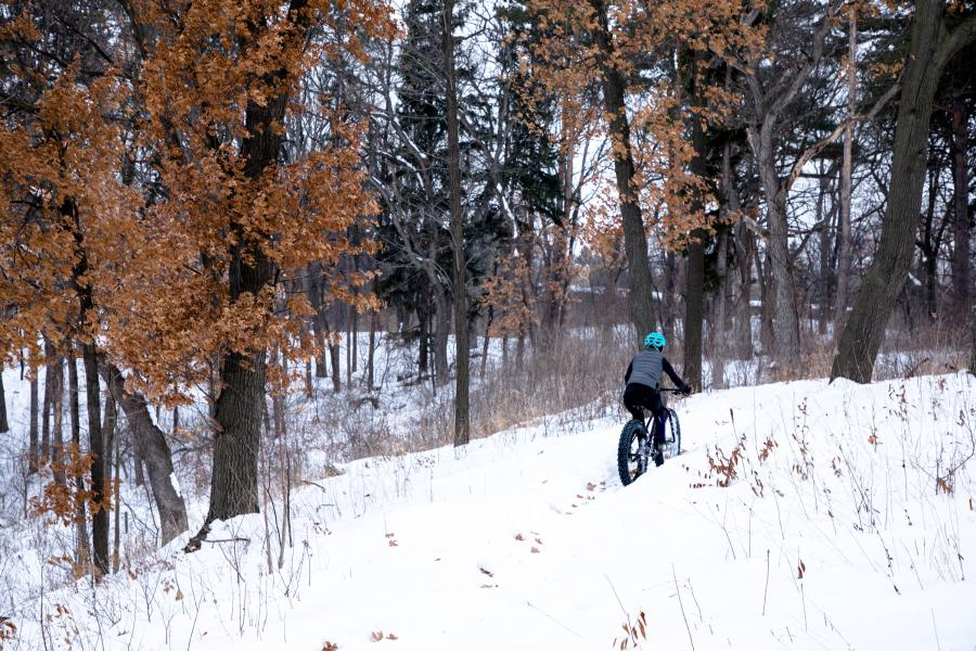 Woman winter fat biking