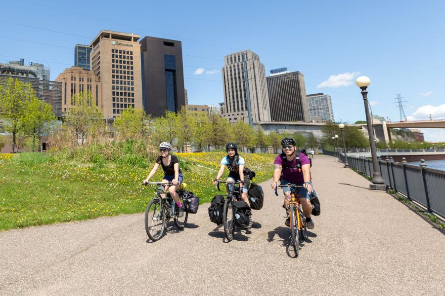 Women biking in St. Paul