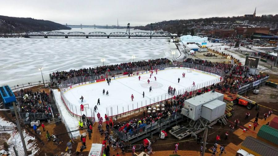 Aerial shot of a hockey rink on the St. Croix River