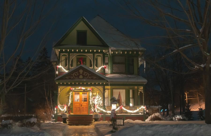 Victorian home decorated for Christmas