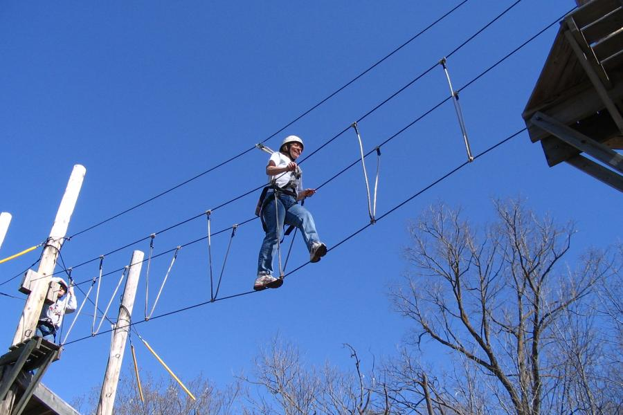 Learning vacations high ropes course Audubon Center women's wellness weekend