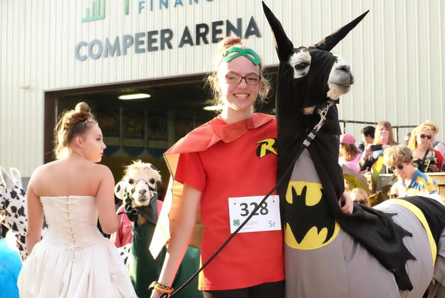 Llama and trainer in Batman and Robin costumes