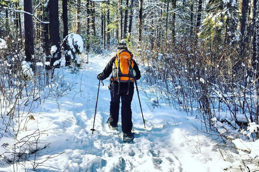 Snowshoeing in winter forest