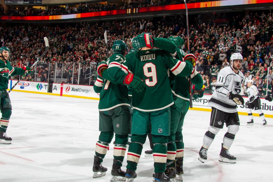 Minnesota Wild celebrate after a goal