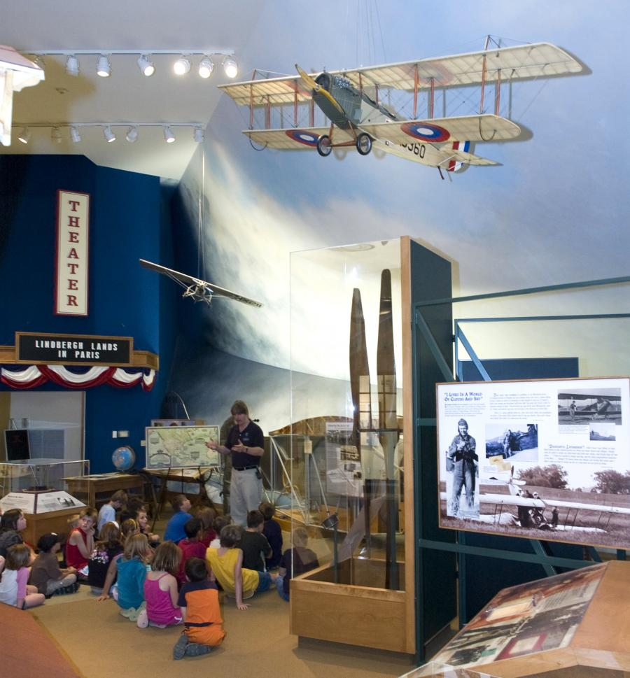 Kids learning about Charles Lindbergh in Little Falls museum