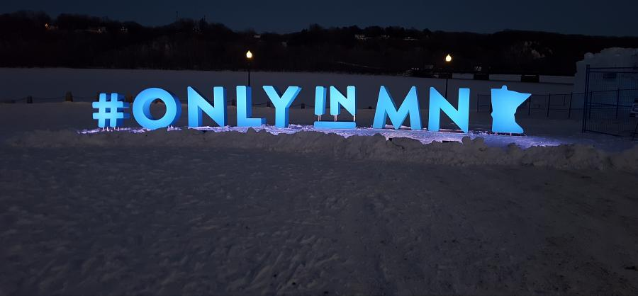OnlyinMN Monument at Ice Castles in Stillwater